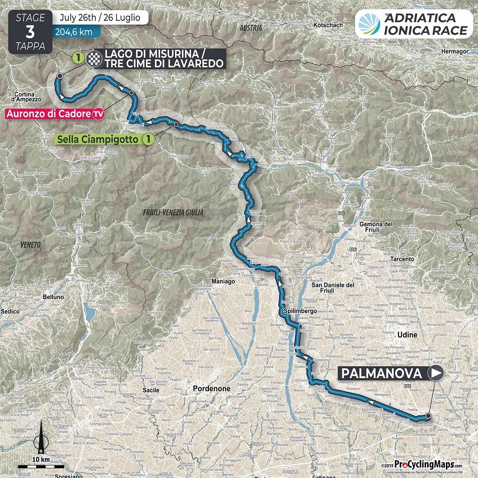 Streckenverlauf Adriatica Ionica Race / Sulle Rotte della Serenissima 2019 - Etappe 3