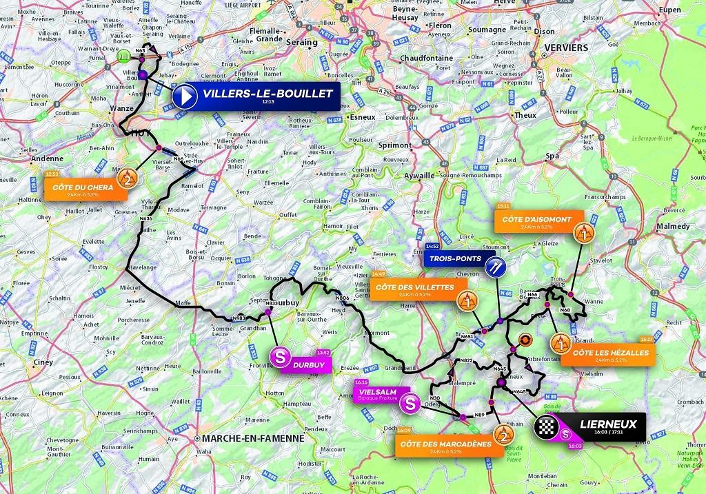 Streckenverlauf VOO-Tour de Wallonie 2019 - Etappe 4