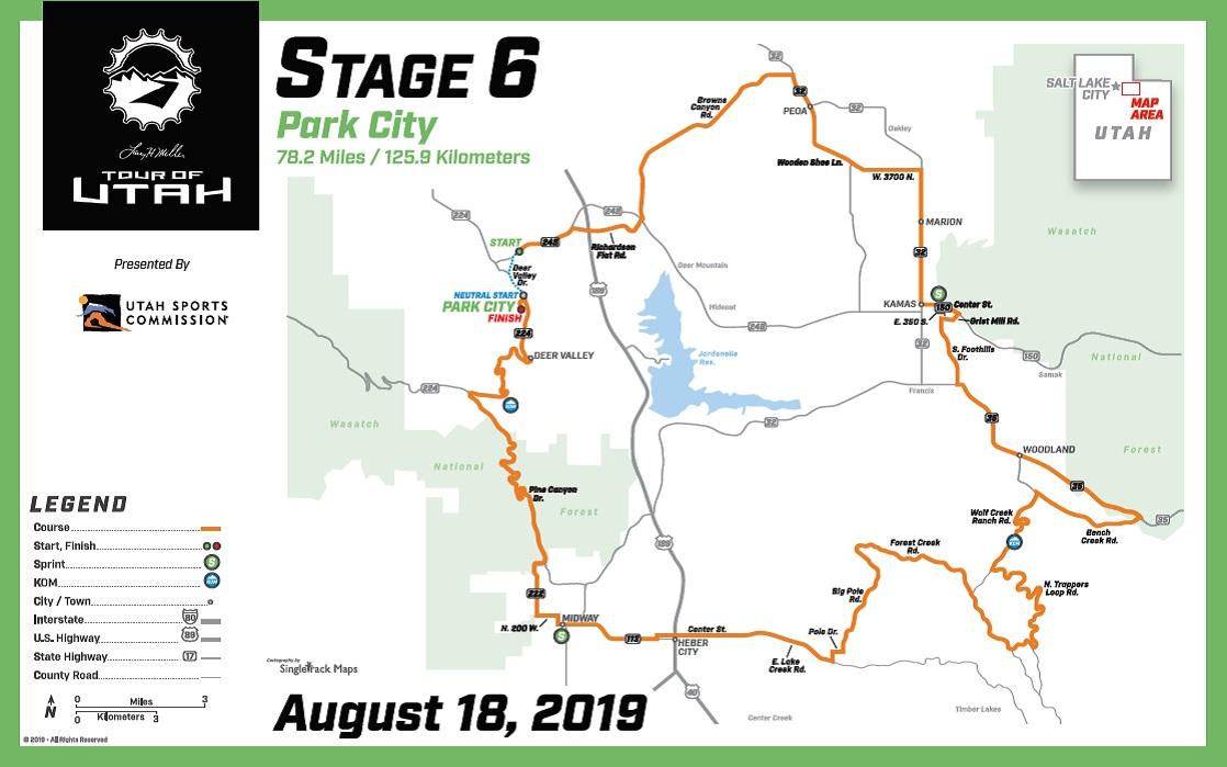 Streckenverlauf The Larry H. Miller Tour of Utah 2019 - Etappe 6