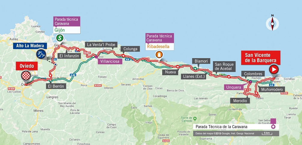 Streckenverlauf Vuelta a España 2019 - Etappe 14