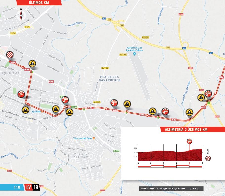 Streckenverlauf Vuelta a España 2019 - Etappe 8, letzte 5 km