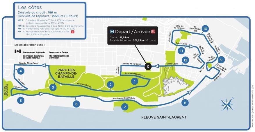 Streckenverlauf Grand Prix Cycliste de Québec 2019