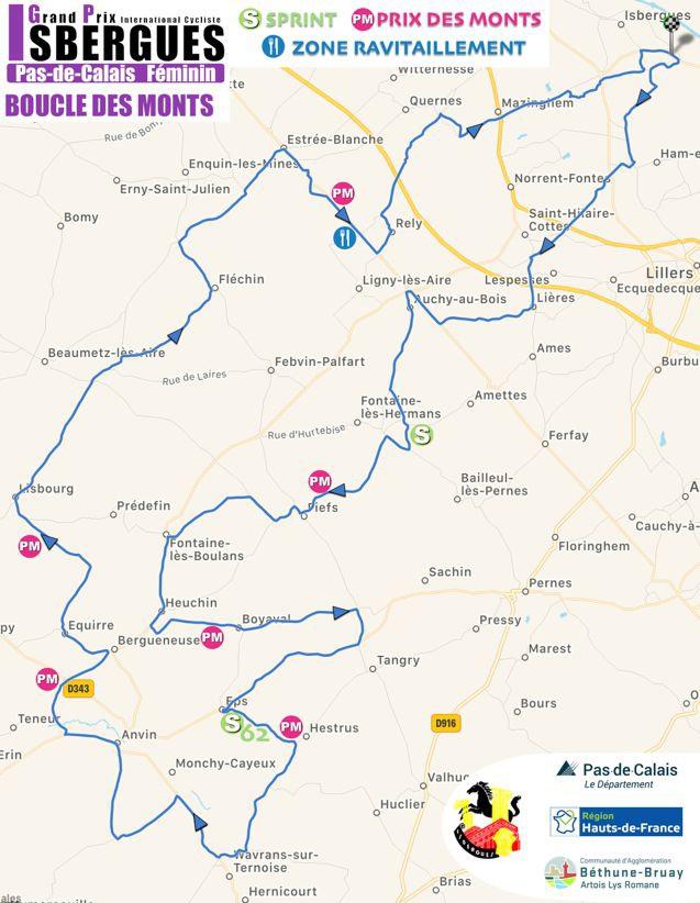 Streckenverlauf Grand Prix International d'Isbergues - Pas de Calais Féminin 2019, erster Rundkurs (98,3 km)