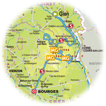 Streckenverlauf Paris - Bourges 2019