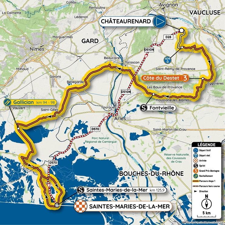 Streckenverlauf Tour de la Provence 2020 - Etappe 1