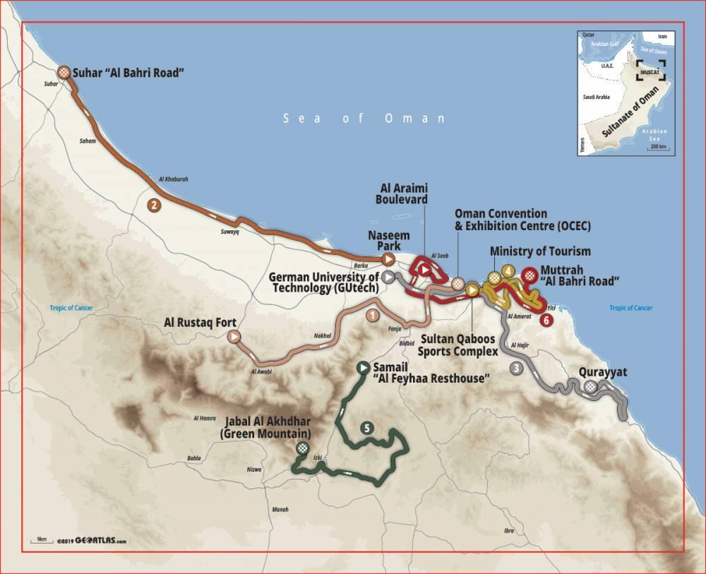 Streckenerlauf Tour of Oman 2020 - Etappe 1