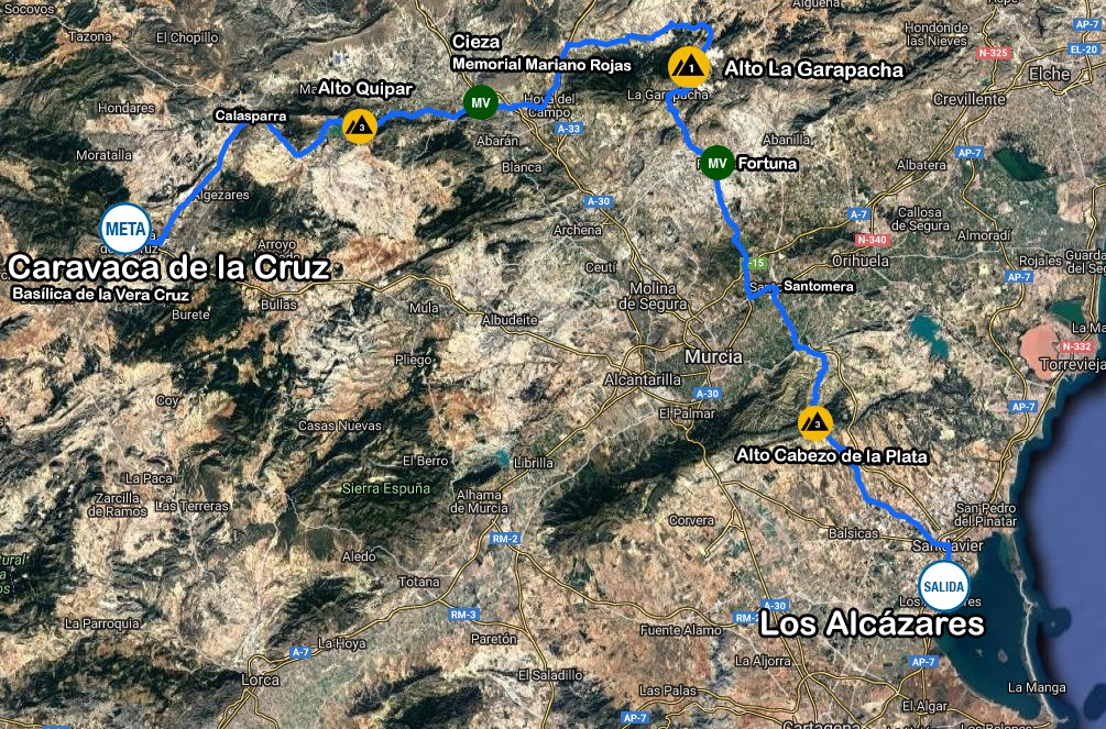 Streckenverlauf Vuelta Ciclista a la Región de Murcia Costa Calida 2020 - Etappe 1