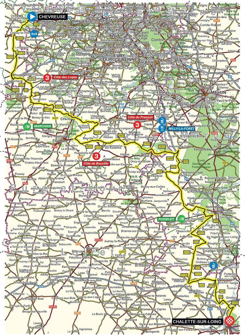 Streckenverlauf Paris - Nice 2020 - Etappe 2