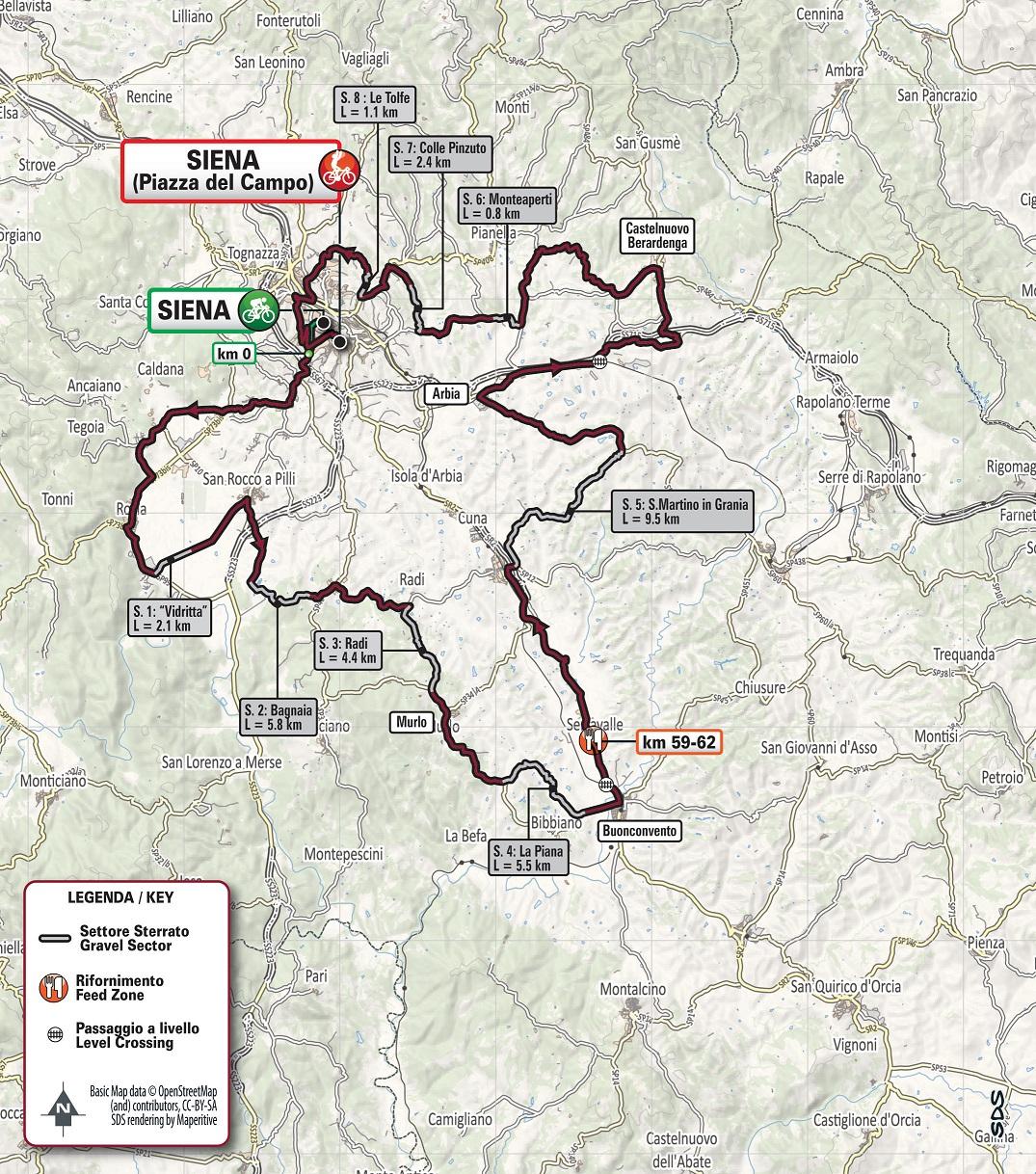 Streckenverlauf Strade Bianche 2020 (Frauen)