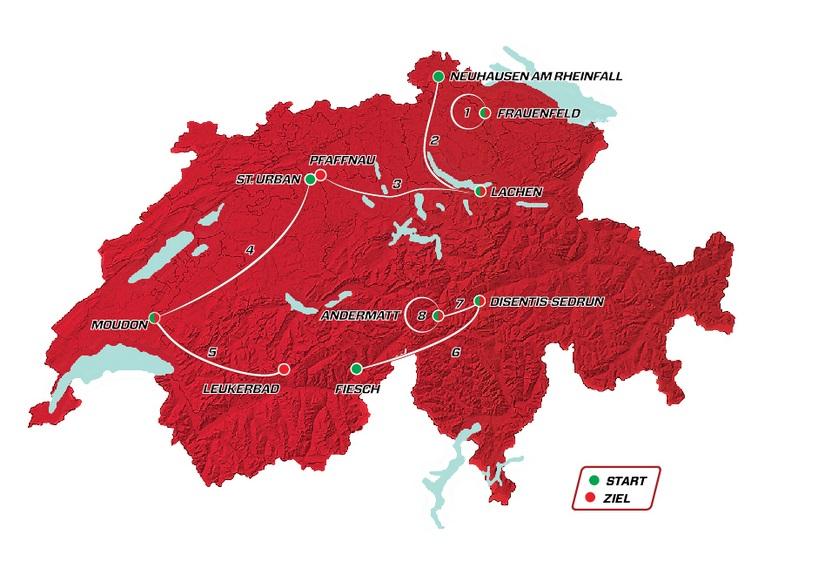 Präsentation Tour de Suisse 2020: Streckenkarte