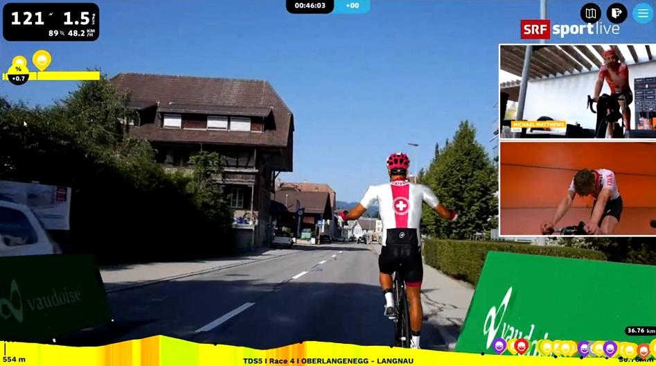 Michael Matthews und Stefan Küng liefern sich am 4. Tag des Digital Swiss 5 eine heiße Verfolgungsjagd (Bild: twitter.com/tds)