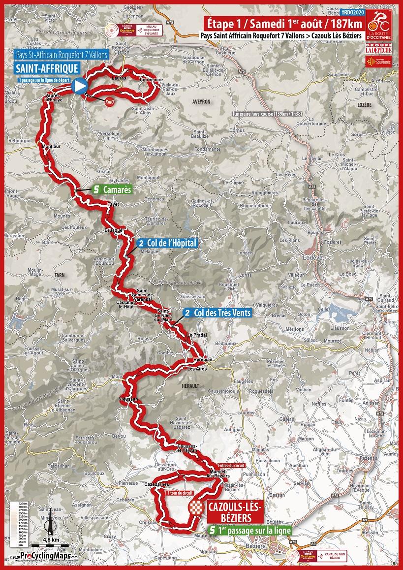 Streckenverlauf La Route d'Occitanie - La Dépêche du Midi 2020 - Etappe 1