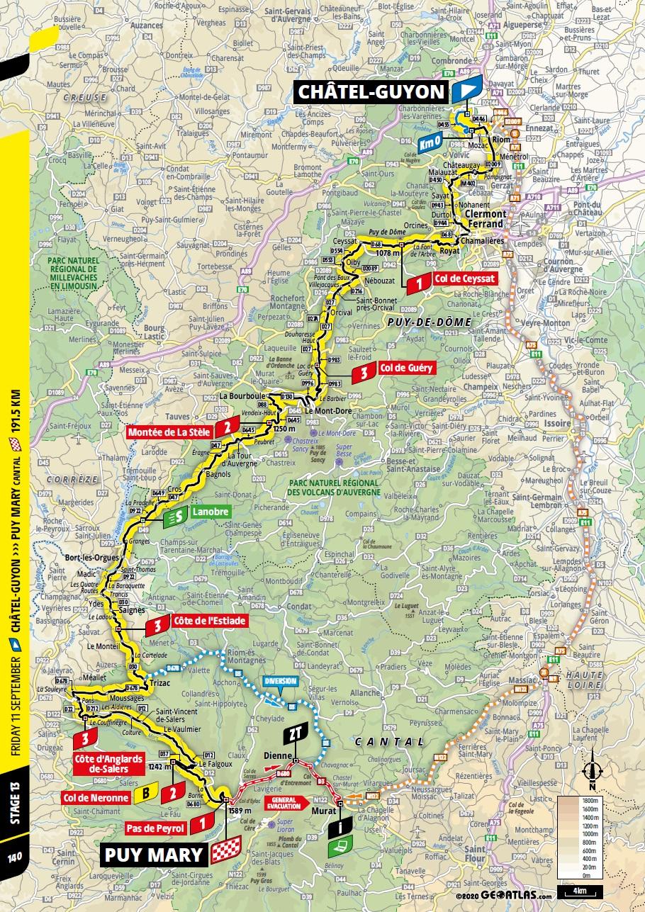 Streckenverlauf Tour de France 2020 - Etappe 13