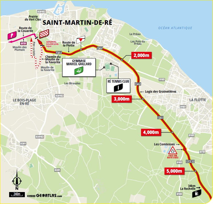 Streckenverlauf Tour de France 2020 - Etappe 10, letzte 5 km