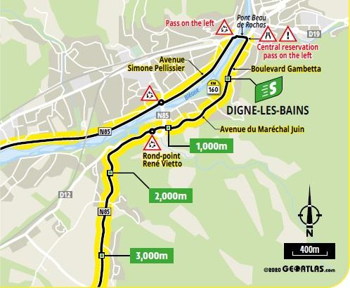 Streckenverlauf Tour de France 2020 - Etappe 3, Zwischensprint