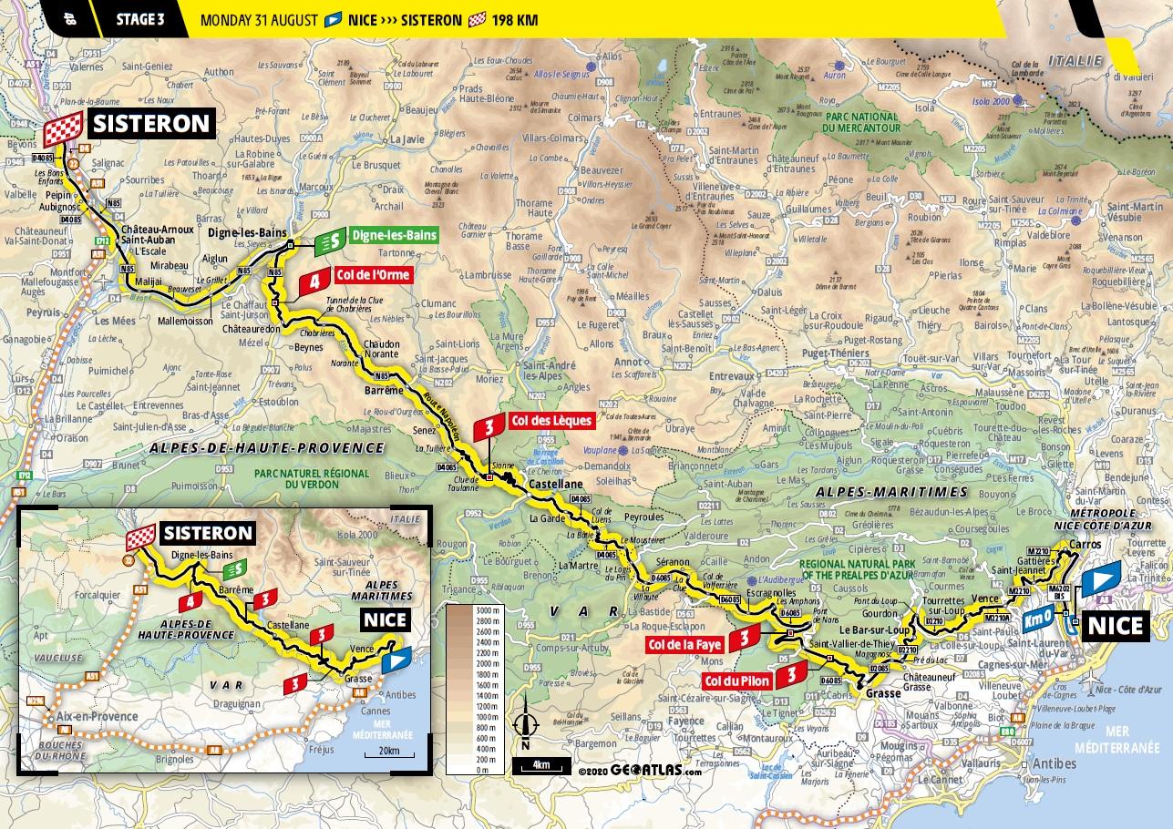 Streckenverlauf Tour de France 2020 - Etappe 3