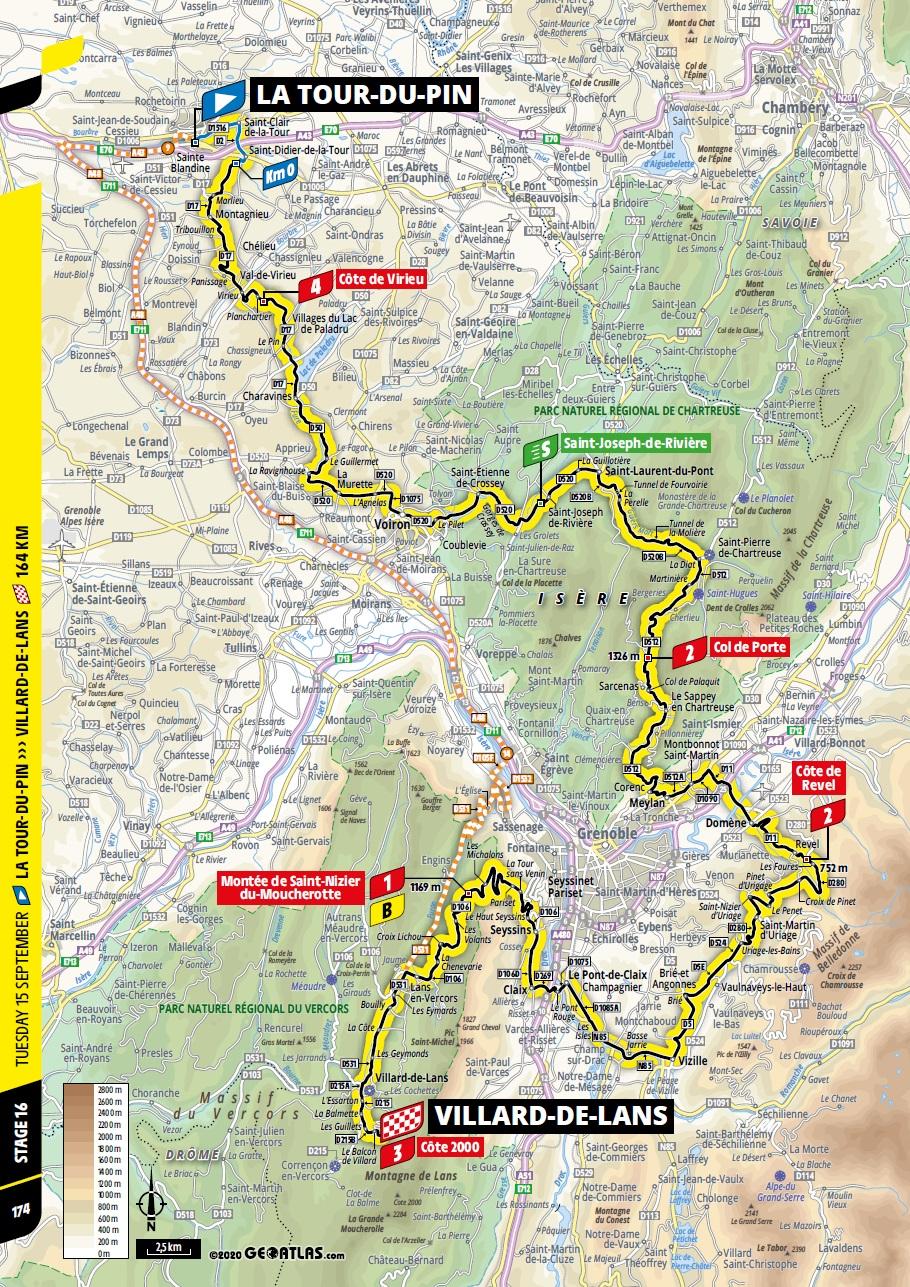Streckenverlauf Tour de France 2020 - Etappe 16