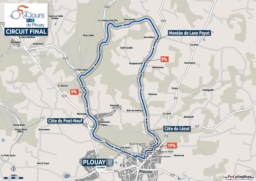 Streckenverlauf Bretagne Classic - Ouest-France 2020, Rundkurs (13,65 km)