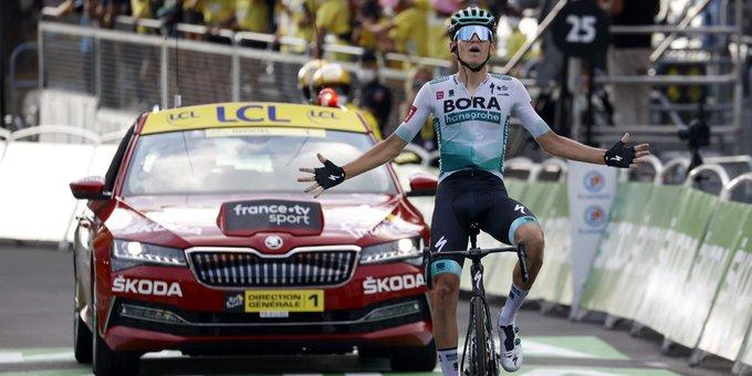Lennard Kämna holt den ersten Etappensieg für Bora-Hansgrohe bei der Tour de France 2020 (Foto: twitter.com/BORAhansgrohe)