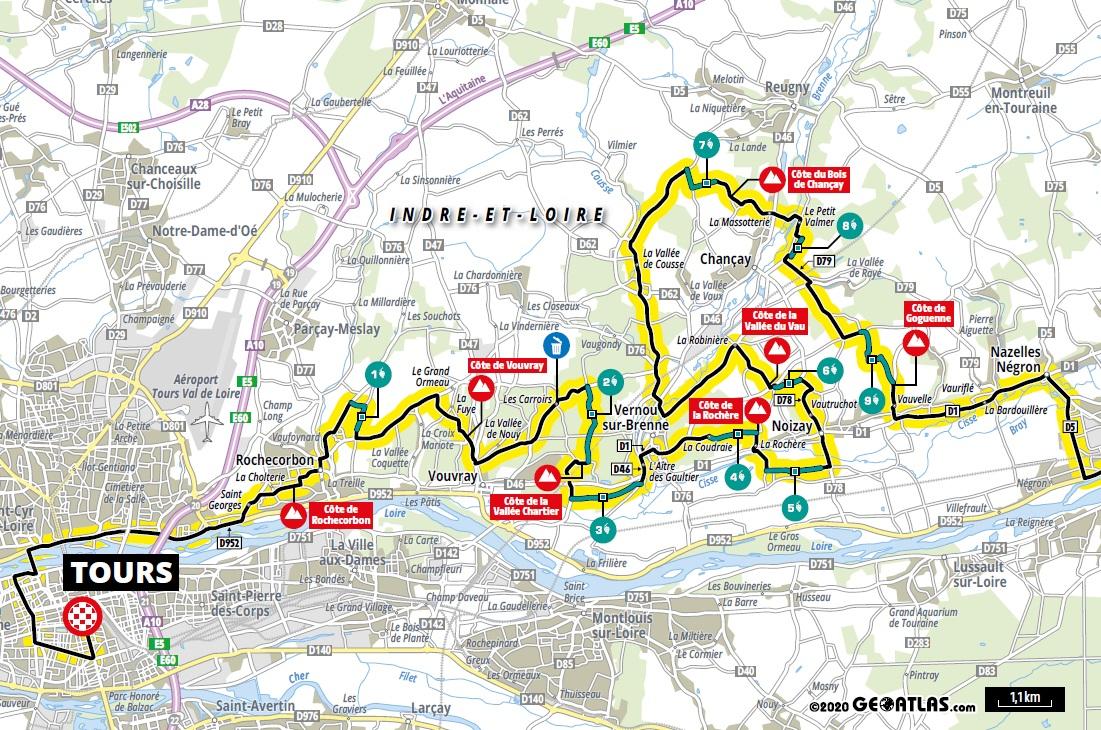 Streckenverlauf Paris - Tours Elite 2020, letzte 58 km