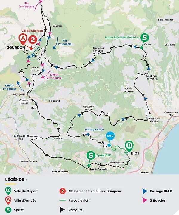 Streckenverlauf Tour des Alpes Maritimes et du Var 2021 - Etappe 1