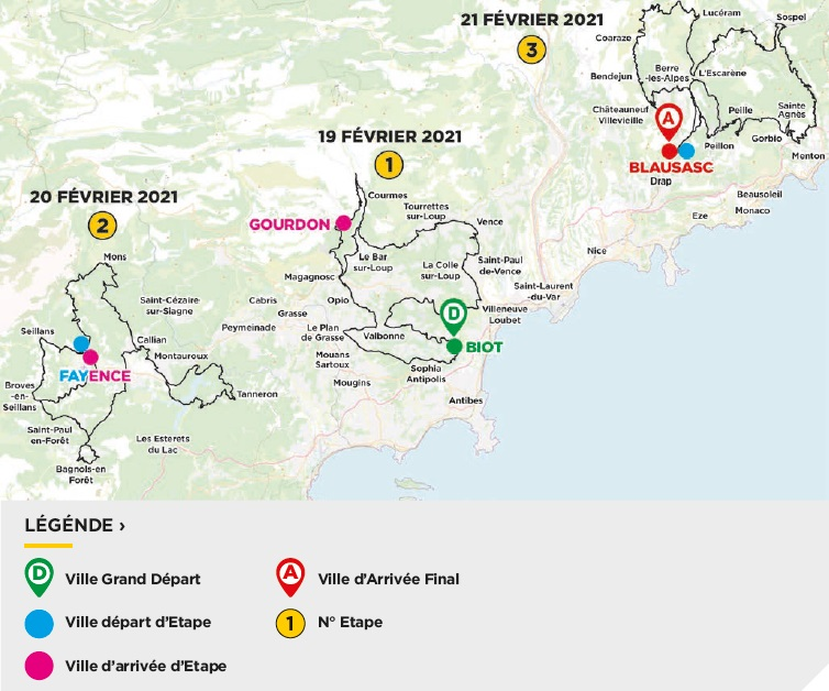 Streckenverlauf Tour des Alpes Maritimes et du Var 2021