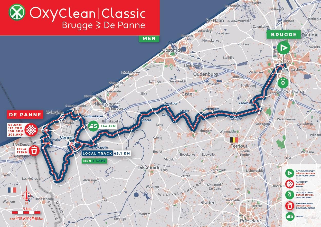 Streckenverlauf Oxyclean Classic Brugge - De Panne 2021 (Männer)