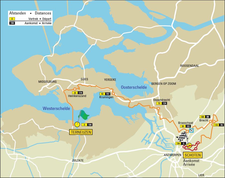 Streckenverlauf Scheldeprijs 2021