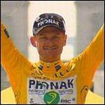 Floyd Landis bei der Siegerehrung der Tour de France 2006