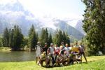 Erinnerungsfoto vor dem Mont Blanc-Massiv
