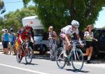 Martin Kohler hinter einem AG2R-Fahrer als Ausreisser auf der 1. Etappe der Tour Down Under (c) BMC / Tim De Waele