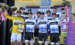 Garmin-Cervélo nach dem Sieg im Mannschaftszeitfahren mit Thor Hushovd im Gelben Tikot (Foto: www.letour.fr)