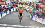 Samuel Sanchez jubelt in Luz-Ardiden über seinen Etappensieg bei der Tour de France (Foto: www.letour.fr)