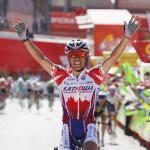 Katusha dominiert 5. Vuelta-Etappe: Klarer Sieg für Rodriguez, Moreno verpasst Rot nur knapp