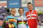 Das Podium vom Straßenrennen der Juniorinnen (v.l.n.r.): Jessy Druyts, Lucy Garner, Christina Siggaard (Foto: copenhagen2011.dk)