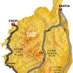 Karte des Grand Départ der Tour de France 2013 mit den drei Etappen auf Korsika