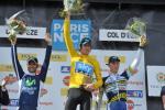 Das Podium von Paris-Nizza 2012 (v.l.n.r.): Alejandro Valverde, Sieger Bradley Wiggins und Lieuwe Westra (Foto: letour.fr)