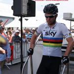 Tour de Romandie 4. Etappe - Weltmeister Mark Cavendish kommt von der Einschreibung in Bulle