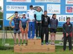 Siegerehrung des 10. Scheunenhof-Triathlon (von links nach rechts): Henry Beck, Nadja Lindner, Christian Ritter, Katja Konschak, Folker Schwesinger, Judith Lotz