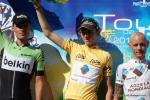 Das Podium der 25. Tour de l´Ain (v.l.n.r.): Luis Leon Sanchez, Gesamtsieger Romain Bardet, John Gadret