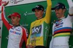 Das Podium der Tour de Romandie 2014 (v.l.n.r.): Simon Spilak, Chris Froome, Rui Costa