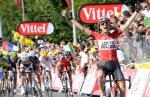 Tony Gallopin feiert seinen ersten Tour-Etappensieg, im Hintergrund sprintet das Feld umsonst (Foto: Veranstalter/letour.fr)