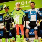Das Podium der EKZ CrossTour mit dem abwesenden Gewinner Clément Venturini als Pappaufsteller (Foto: radsportphoto.net/Steffen Müssiggang)