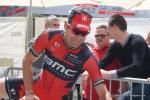 ... meine letzte Begegnung mit Cadel Evans vor seinem Karriereende am Start der letzten Etappe der Tour de Suisse 2014 in Martigny