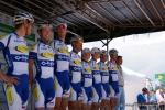 das belgische Team Topsport-Vlaanderen bei der Fahrerpräsentation