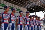 das italienische Team Androni Giocattoli bei der Fahrerpräsentation
