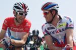 Fränk Schleck und Alexander Kristoff beim entspannten Plausch kurz vor dem Start in Gippingen