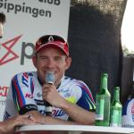 Alexander Kristoff gut gelaunt bei der anschließenden Pressekonferenz in Gippingen