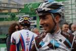 Matteo Montaguti gut gelaunt vor dem Start in Bergamo