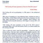 Die Pressemitteilung von Michel Thétaz zur Auflösung der Mannschaft IAM Cycling